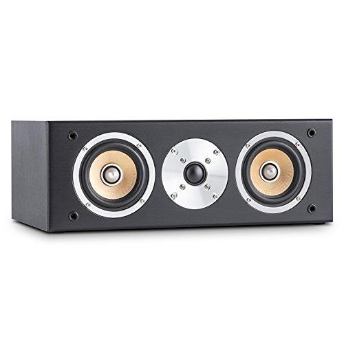 auna - Line 500 CS-BK, Center-Lautsprecher, Center Speaker, 60 Watt RMS, 2-Wege System, passiv, Zwei 10cm (4