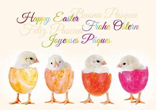 10 simpatiche cartoline di Pasqua in un set con buste, amorevolmente disegnate da EDITION COLIBRI - simpatiche cartoline di auguri per Pasqua (11069)