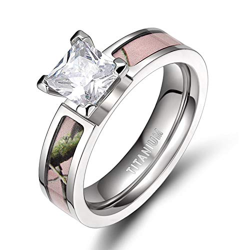 TIGRADE 5MM Pink Camo Titanium Rings with Cubic Zirconia Ring for Women Size 4.5-12, Style #2, Size 5
