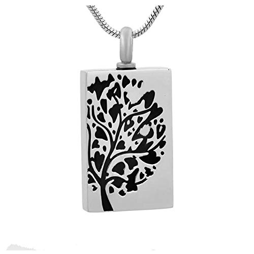 Ysain Cenizas Collar Colgante De Urna De Cremación De Tableta Cilíndrica De Acero Inoxidable, Joyería Conmemorativa para Medallón De Cenizas, Collar De Árbol De La Vida