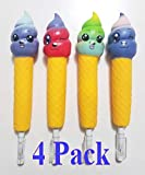 JM Ice Cream Squishy Pens / Pencil Grips Set (4 Pack) Slow Rising Scented Pencil Toppers | Pen Holders | Kids Party Favors & Classroom Prizes | Stress Toys | Birthday