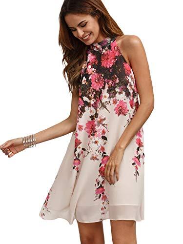 Floerns Women#039s Summer Chiffon Sleeveless Party Dress  Medium  Pink