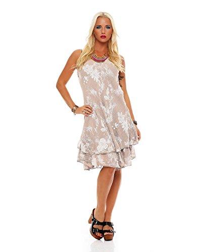 Zarmexx zomerjurk knielange dubbellaags katoen jurk strandjurk V-hals florale all-over prin
