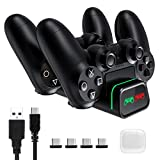 PICTEK Cargador Mando PS4, Carga Ultrarrápido con Tira de Luz y LED Indicador, Soporte Mando PS4 USB, Compatible con Playstation4, PS4, PS4 Pro, PS4 Slim