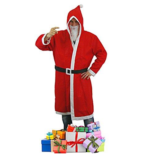 Weihnachtsmann Kostüm Nikolausset Nikolaus Set Mantel 3-tlg. mit Bart und Gürtel Gr 56 M7L