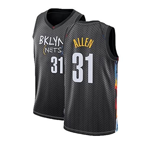 HTTC Malla para Hombres y Mujeres Camiseta de Baloncesto Nëts # 31 Allën Jersey de Baloncesto, 90s Ropa de Hip-Hop, Negro/Azul/Gris S-XXL Black-M