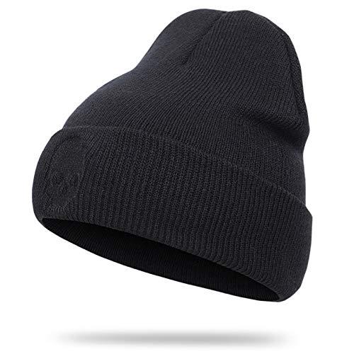 DABENXIONG Sombrero De Punto Negro Patrón De Cráneo Patrón De Calavera Kint Kint Beanie Hat Slouchy SOFE Cálido De Cráneo De Invierno Cálido Unisex (Color : Black)