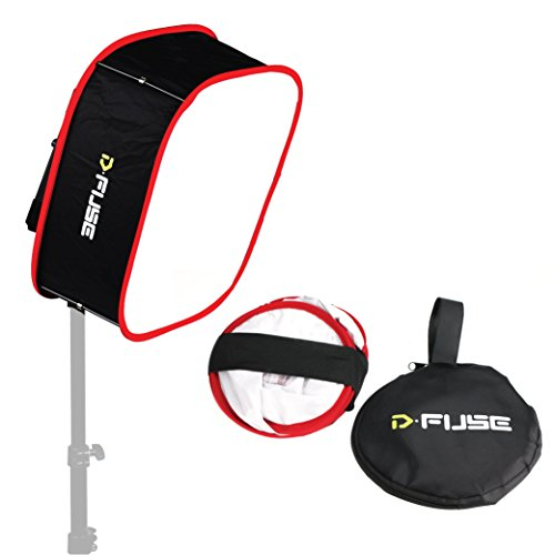 "Kamerar D-Fuse Large LED Light Panel Softbox: 12""x12"" Opening, Foldable Portable Light Diffuser, Carrying Bag, Strap Attachment, Portrait Photography, Photo Video, Studio Lighting, Natural Look"