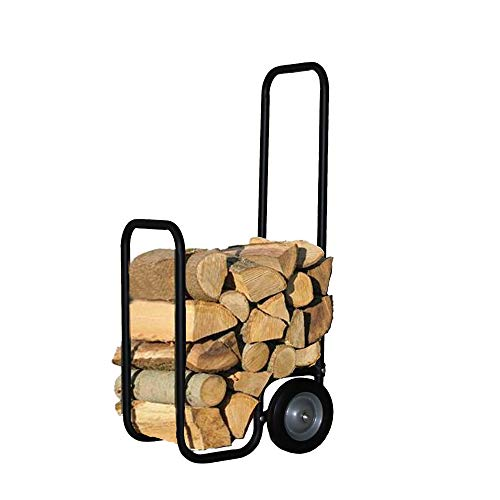Essentials by DFO Heavy Duty Firewood Log Cart with Never Flat Tires, Portable Wheeled Log Carrier, Outdoor or Indoor Wood Rack Storage Mover, Rolling Dolly Hauler