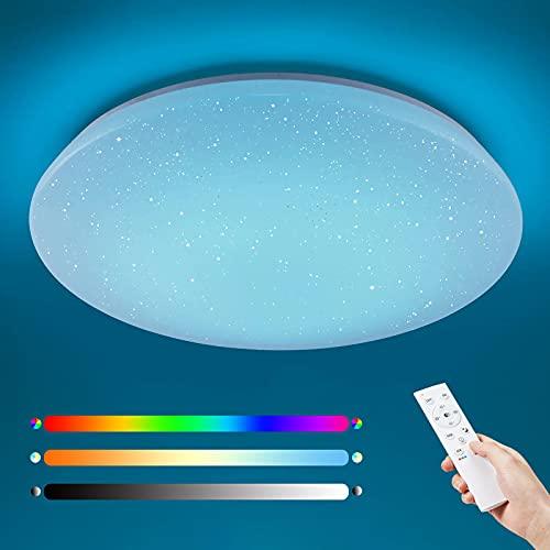 Anten Wizard   Plafon led techo regulable 36 W con mando a distancia y efecto estrella   RGB y blanco cálido a luz de día ajustable   Blanco   ronda   40 cm.
