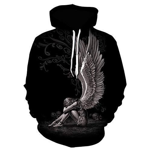 Hoodie Mens 3D Digital Print Angel Wings Skull Large Size Hoodie Sweatshirt We 1555XL