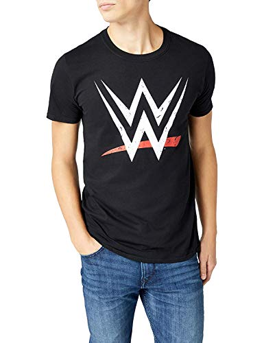 Wwe Wwe - Logo, Camiseta para Hombre, Negro, Small