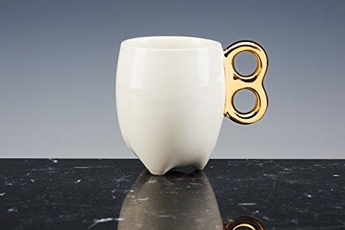 ENETGETICA Tasse à thé et à café Porcelaine émaillée blanche avec Queue en or 18 carati. fait à la main tasses design !