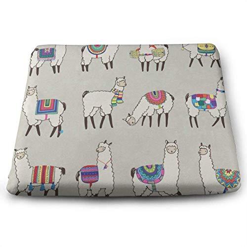 N/A Square Seat Cushions Vintage Retro Peru Lama Premium Comfort Memory Foam Chair Pads for Patio,Office,Kitchen,Desk,Travel,Kids,Yoga,Truck Driver,Car