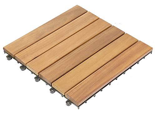 Set de 36 baldosas en madera cumarú 30 x 30 cm para 3,6m², resistentes a rayos UV para uso en exterior, antideslizantes, ideal para terrazas, jardínes.fácil de instalar.