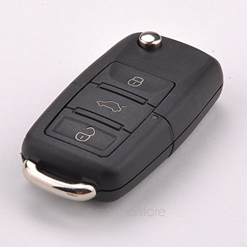 Carcasa plegable para llave de coche, mando a distancia de Tookie para Volkswagen VW Jetta Golf Passat Polo Bora 3 botones, negro