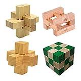 Chonor 4 Pièces 3D Puzzle Casse-tête en Bois - Classique Brain Teaser IQ Puzzle Éducatif Jouet Jeu Jigsaw pour Enfants et Adultes - Idée de Cadeau et de Décoration