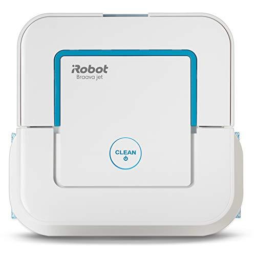 iRobot Braava Jet 250 Robot Lavapavimenti 3in1: Pulizia a Secco, a Umido e Lavaggio ad Acqua, Adatto a bagni e cucine, modalità Spot, Bianco/Blu
