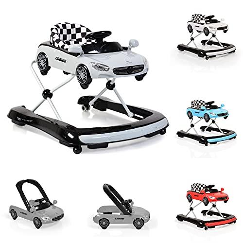 Cangaroo Cabrio Lauflernhilfe/Lauflernwagen mit Wippfunktion/Wippstuhl 2 in 1, grau Gehfrei mit fröhlichem Spielecenter ab 6 Monaten