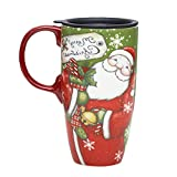 Ceramic Travel Mug for Coffee or Tea Sealed Lid 17 oz.with Gift Box,Santa Claus Xmas