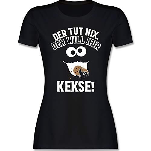 Karneval & Fasching - Der TUT nix. Der Will nur Kekse! - XXL - Schwarz - Verkleidung Kostüm - L191 - Tailliertes Tshirt für Damen und Frauen T-Shirt