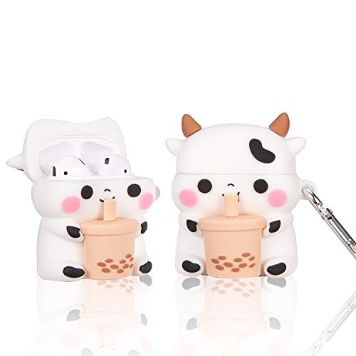Boba Tea Cow Airpods 1/2 Case, 3D Cartoon Cute Kawaii Chic Cow Airpod Design Kids Teens Girls Boys Women Shockproof Keychain Soft Silicone Case for Airpods 1 & 2 Case (Boba Tea Cow)