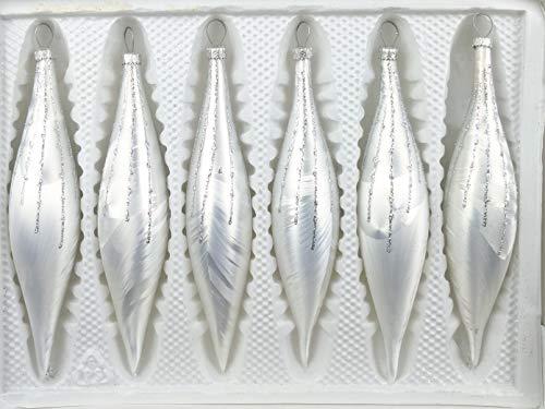 6 TLG. Glas-Zapfen Set in Ice Weiss Silber Regen - Christbaumkugeln - Weihnachtsschmuck-Christbaumschmuck
