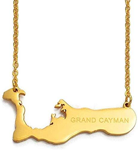 BACKZY MXJP Collar De Cadena 50Cm + 5Cm Las Islas Caimán para Gran Caimán Mapa Collares Pendientes Color Dorado Mapas De Encanto Joyería Regalos