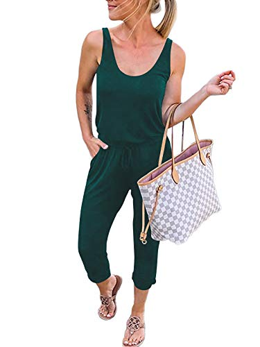 ANRABESS Women Tank Jumpsuit Summer Casual Sleeveless Elastic Waist Solid Cotton Stretchy Jumpsuit Romper with Pockets A208molv-M