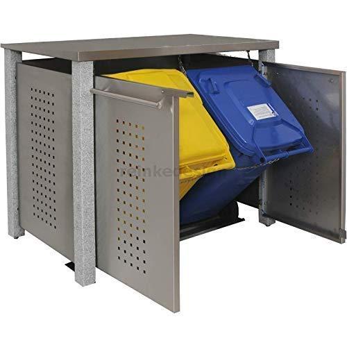 Edelstahl Mülltonnenbox für 2 Tonnen 120L mit Pultdach und Granit-Pfosten (ND11T), Mülltonnenhaus, Mülltonnenverkleidung