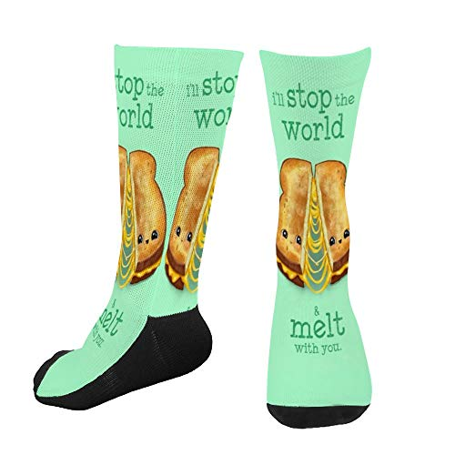 Men's Women's Novelty Custom Socks Personality I Will Stop The World And Melt With You Print Casual Dress Crew Socks