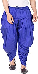 Royal Kurta Mens Silk Patiala Salwar Baggy Harem Pants (JASD, Blue, Free Size)