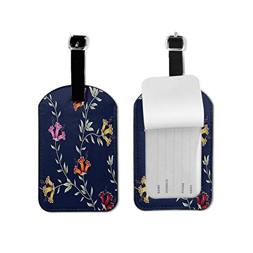 Paisley Design Luggage Tag Colorful Flower Ornament Green Leaves Vintage Navy Blue Travel ID Label Leather for Baggage Suitcase Travel Accessories Bag Name Tags 1 Piece