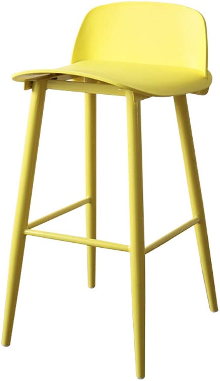 FEI Teng Bar Stool Nordic Modern Minimalist Metal Bar Stool Creative High Stool Bar Chair Bar Stool, Creative Home Dining Table High Chair H75cm (color   Yellow)