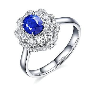 Bishilin Anillos de Boda Oro Blanco 750, Flor Oval Zafiro 1.57ct Diamante Anillo de Compromiso Anillo de Aniversario Aniversario Cumpleaños Azul Plateadotamaño: 23,5