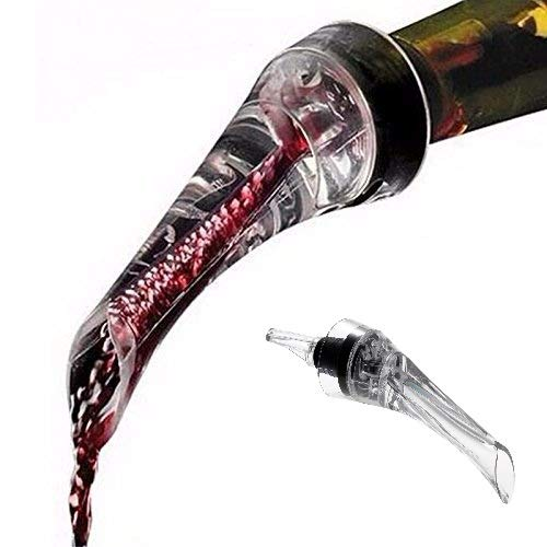 Wine Aerator Pourer with Auto-Closing System –Dripless spout-Premium Aerating Pourer and Decanter Spout – Easy to Clean - Dishwasher Safe (Transaprent)