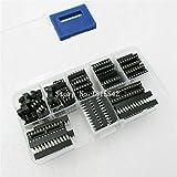 Ballylelly 66pcs Dip IC Sockets Tipo de Soldadura Kit de enchufes Kit electrónico de Surtido de Bricolaje 6/8/14/16/18/20/24/28 Pines Module Connectors