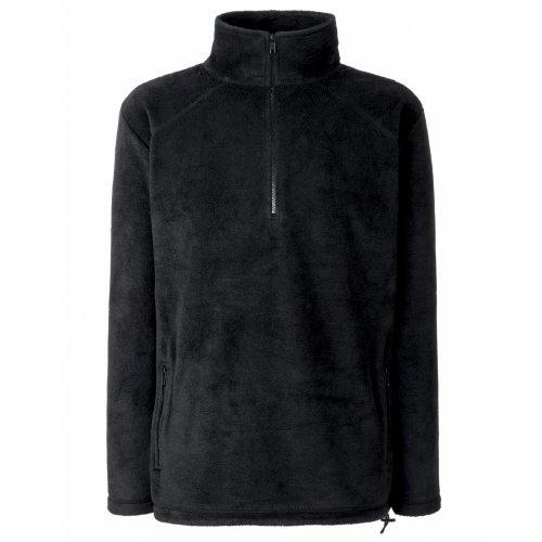 Fruit of the Loom Half Zip Fleece Sweat-Shirt Homme, Noir (Black 00) Large