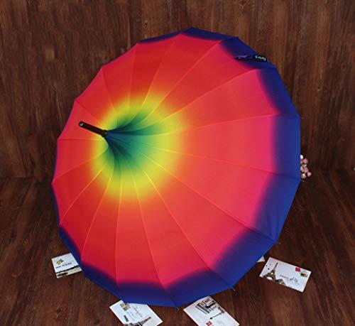 Giow European Style Modern Simple Black 24 Bone Super Winddichte Pagode Regenbogenschirm Sonnenschirm Sonnenschirm Übergroßer Doppelschirm Langgriffschirm