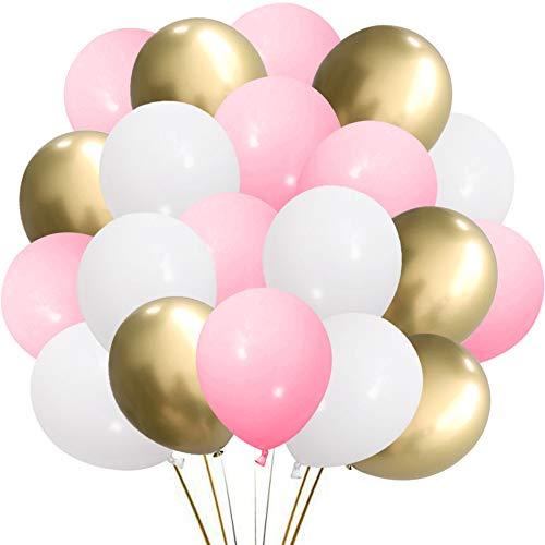 Helium Luftballons SKYIOL Rosa Gold Weiß Latex Geburtstag Hochzeit Ballons als Party Feier Dekorationen für Kinder Mädchen Baby Shower Abschluss, 50 Stück 30 cm
