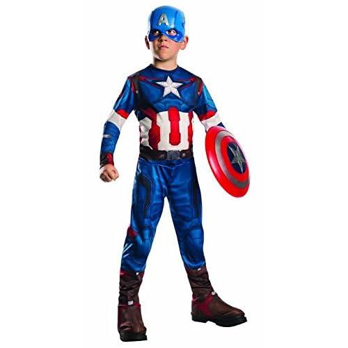 Rubie`s Marvel 610424-L- Disfraz Capitán América Set con disfraz y máscara,  8-10 años