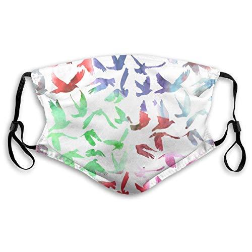 Mannen en vrouwen Aquarel duiven en duiven patroon actieve koolfilter masker voor autouitlaat
