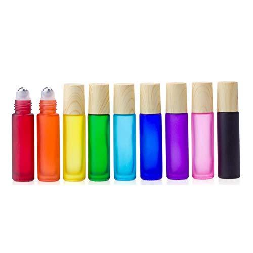 BANAMANA Mehrweg-Glas Roll On Flaschen mit Holzmaserung Lids Edelstahl Ball, 9Pcs 10ml Farbe Ätherisches Öl Rollerflaschen für Reisen