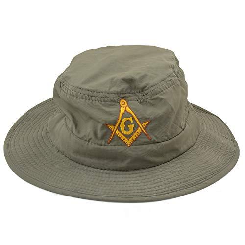 Boonie Hut mit Freimaurer-Motiv, bestickt, goldfarben