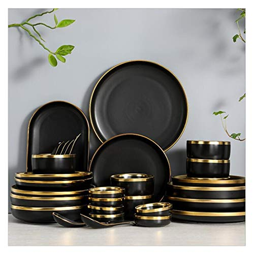Plato de cena Gilt RIM Black Porcelana Placa de cena Placa de cocina Placa de cerámica Vajilla Comida Platos Platos de ensalada de arroz Fideos de fideos Cubiertos Cubiertos 1pc ( Color : Spoon )