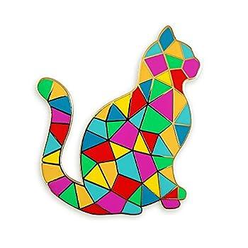Pinsanity Colorful Mosaic Cat Enamel Lapel Pin