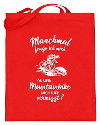 shirt-o-magic Mountainbiker: Ob mein Mountainbike mich vermisst? - Jutebeutel (mit langen Henkeln) -38cm-42cm-Rubinrot