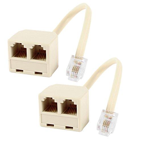 Sourcingmap 6P4C RJ11maschio a 2femmine Splitter Telefono connettore (Confezione da 2)