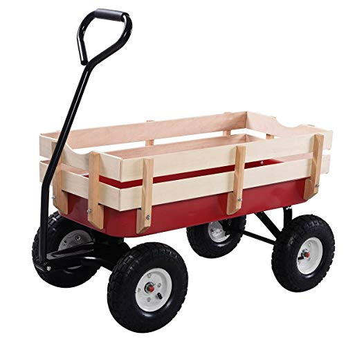 ReunionG Garden Cart with Free-Rotating Wood Railing, Kids Outdoor Wagon with Rubber Wheels, All...