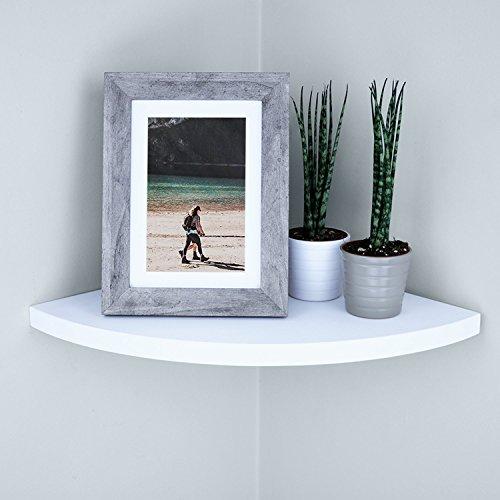 Ballucci Wall Mount Wood Corner Shelf, Floating Corner Shelf, for Bedroom, Living Room, TV Room, Bathroom, Kitchen, Office, Kids Room, 12 x 12 inches - White